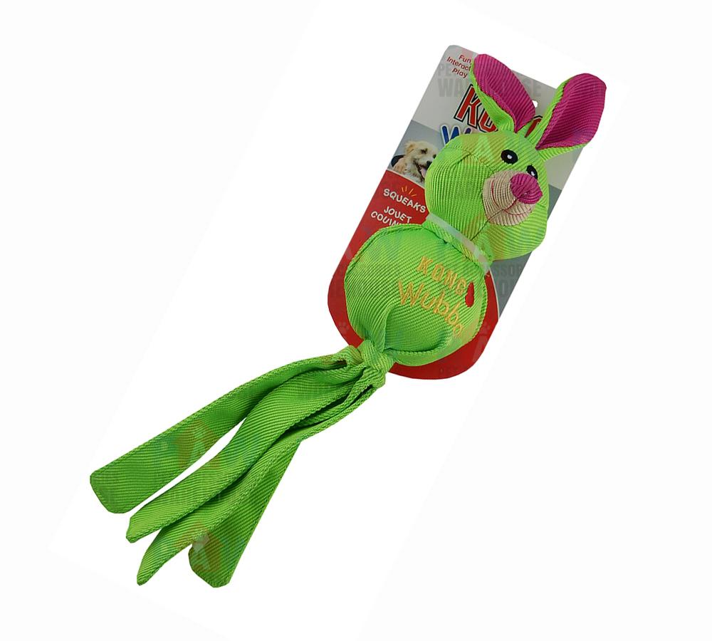Kong Ballistic Tug Dog Toy: KONG Wubba Ballistic Friends Dog Toy GREEN RABBIT Small